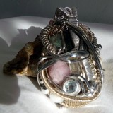 Drew Eaton – Sterling Silver and 14k Gold Wire Wrap Pendant
